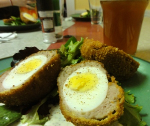 Home made Scotch eggs like the Rose & Crown