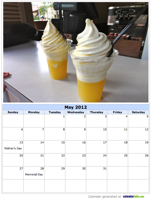 Dole Whip May 2012 Calendar Page