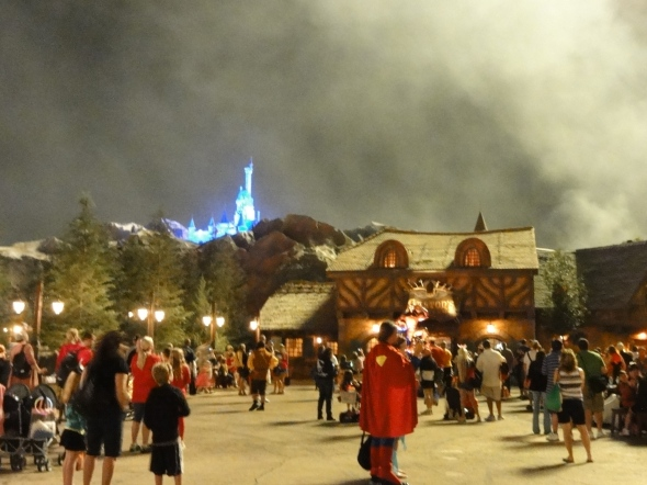 Gaston's lit up like day from fireworks