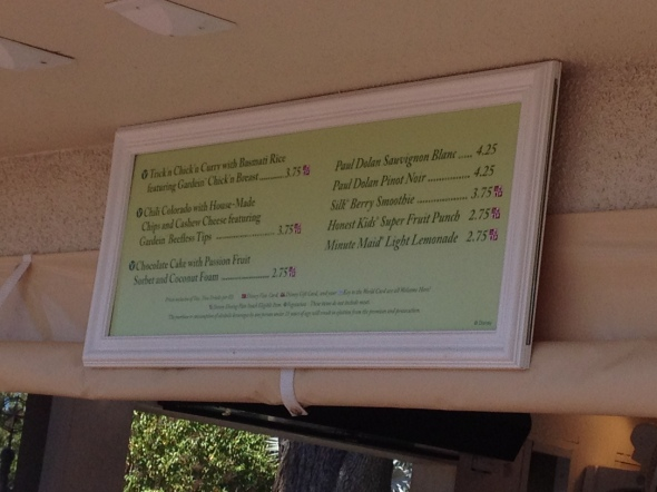 Menu at Terra Booth at Epcot Food & Wine Festival 2012