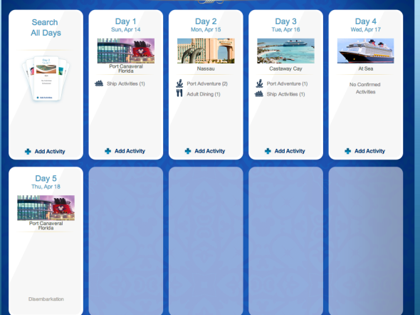 Daily Activity Planner Disney Dream