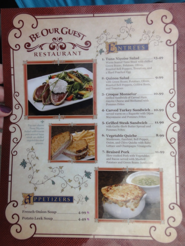 Be Our Guest menu page 1