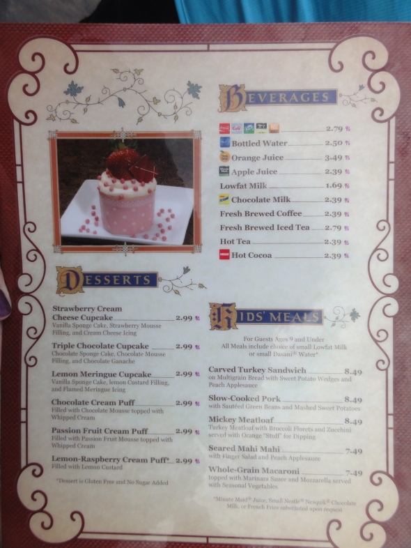 Be Our Guest menu page 2