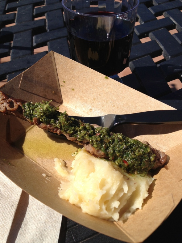 Beef with chimichurri at the Argentina booth