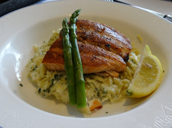 Salmon with asparagus and rice Disney Dream room service