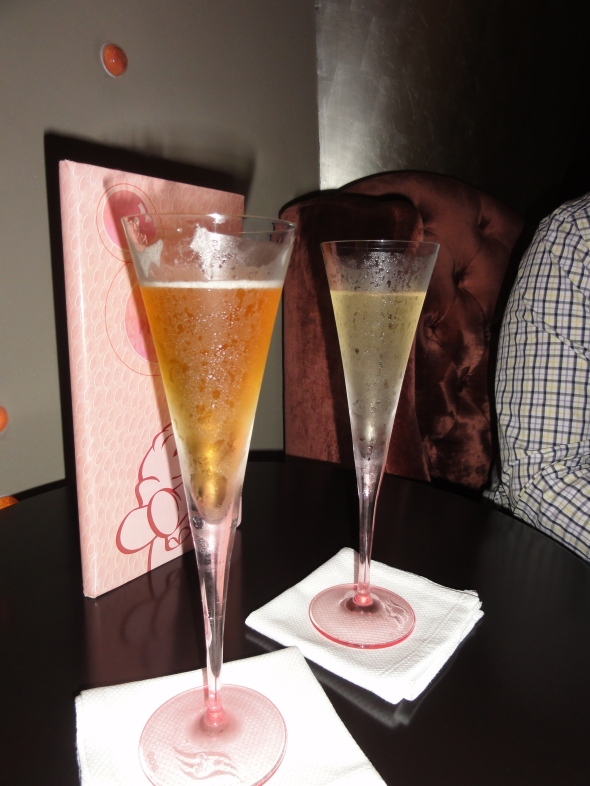 Champagne cocktails in Pink on Disney Dream
